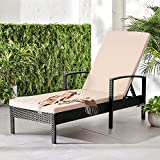 Aoxun Patio Chaise Lounges with Thickened Cushion, 5 Tiers Adjustable Backrest, PE Rattan Steel Frame, Suitable for Patio, Backyard or Poolside