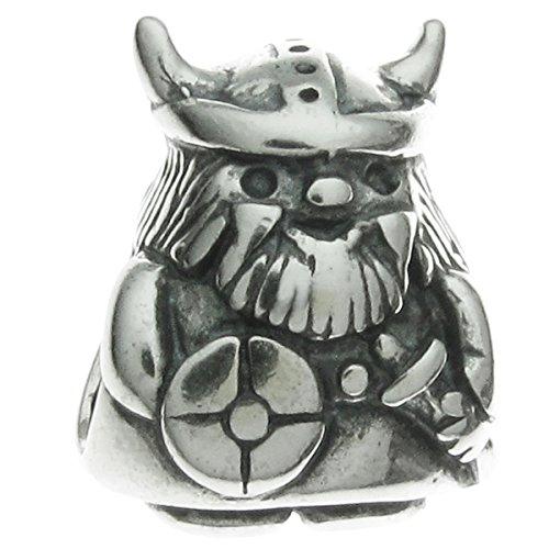 Queenberry - Abalorio de plata de ley 925, diseño de guerrero vikingo, compatible con pulseras Pandora, Troll, Chamilia, Biagi