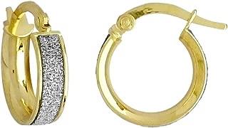 Jewelco London Ladies 9ct Gold MoonDust Stardust 4mm Hoop Earrings 13mm