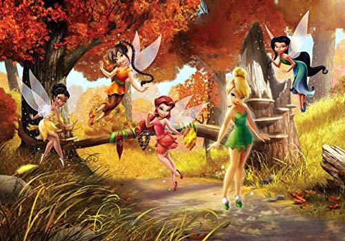 AG Design FTD 0251 Disney Fairies Feen, Papier Fototapete - 360x254 cm - 4 teile, Papier, multicolor, 0,1 x 360 x 254 cm