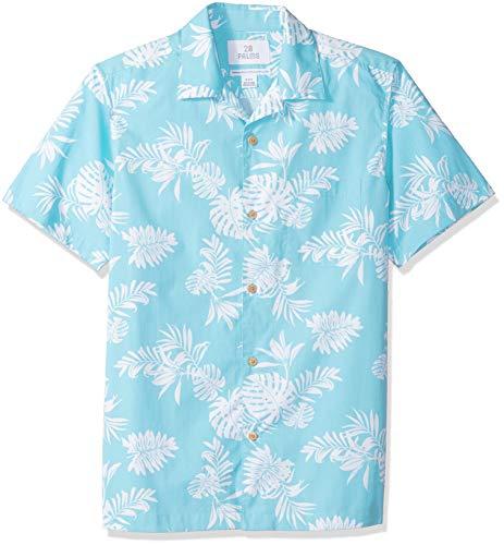 Amazon Brand – Camisa hawaiana tropical de algodón 100% con ajuste estándar de 28 palmeras para hombre,…