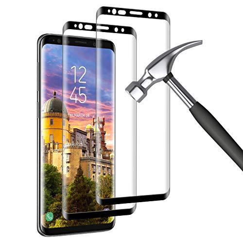 Mriaiz Verre Trempé pour Samsung Galaxy S8 Plus, [2 Pack] [9H Dureté] [sans Bulles] [3D Bord Rond] [Haute définition] Anti Rayures Film Protection écran pour Samsung Galaxy S8 Plus