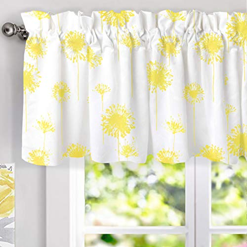 DriftAway Dandelion Floral Botanical Lined Thermal Insulated Window Curtain Valance Rod Pocket 52 Inch by 18 Inch Plus 2 Inch Header Yellow 1 Pack