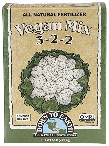 Down to Earth Organic Vegan Fertilizer Mix 3-2-2, 5 lb