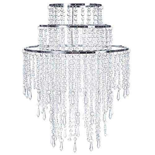"""SUNLI HOUSE 3 Tiers Sparkling Acrylic Iridescent Beaded Pendant Shade, Ceiling Chandelier Lampshade with Chrome Frame,12.6""""Diameter,Bulb is NOT Included"""
