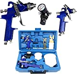 YaeTek 0.8mm & 1.4mm Nozzle Paint Base Primer HVLP 2-Spray Guns Kit with Gauge Auto Gravity Feed Painting