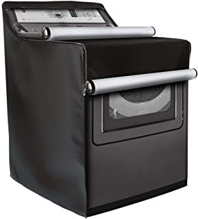 Washing Machine Cover,W29in D28in H40in,Washer/Dryer Cover Fit Most Top Load or Front Load Washers/Dryers,All Weather Protection Black Coated