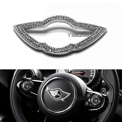 YaaGoo for Mini Cooper Steering Wheel Emblem Sticker, Bling Crystal Decor, Metal Finish