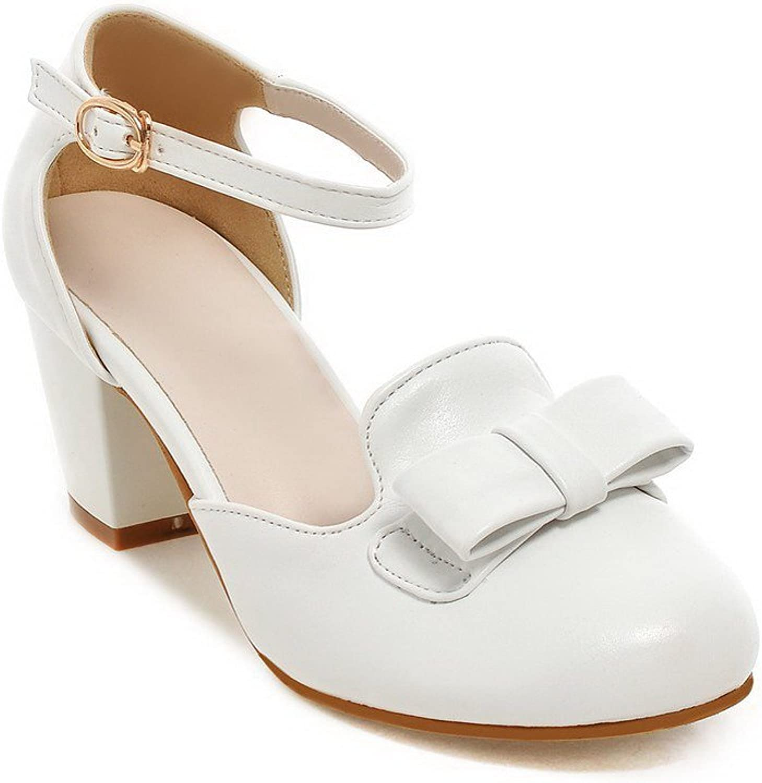 WeenFashion Women's Buckle Kitten Heels Pu Round Closed Toe Pumps shoes