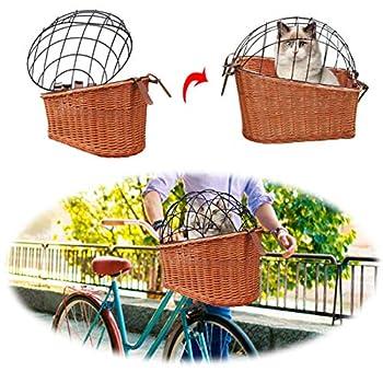certainoly Panier de vélo, Panier de Chien avec Fil de Protection Sac de Transport de Panier pour Animaux de Compagnie Support arrière Panier de vélo en Saule pour Chats Chiens jusqu'à 25lbs