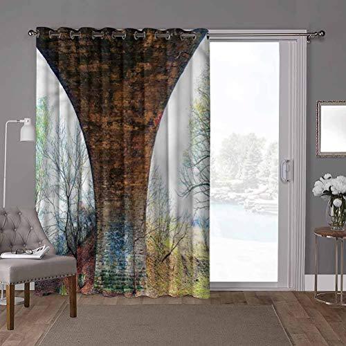 YUAZHOQI Panel de cortina de puerta corredera de ahorro energético, paisaje, pilar de piedra puente, W52 x L96 pulgadas persianas verticales para puerta de honda (1 panel)