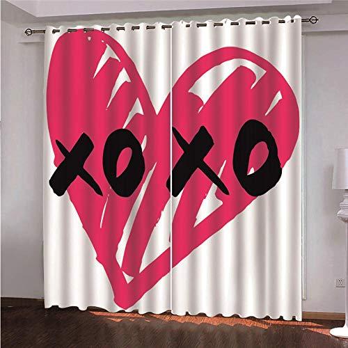 Ojales Cortinas 140 x 250 cm Patrón de corazón Rojo Opacas Reduccion Ruido Aislantes Cortinas Cortina de poliéster de impresión 3D para Dormitorio Infantil 2 Pieza