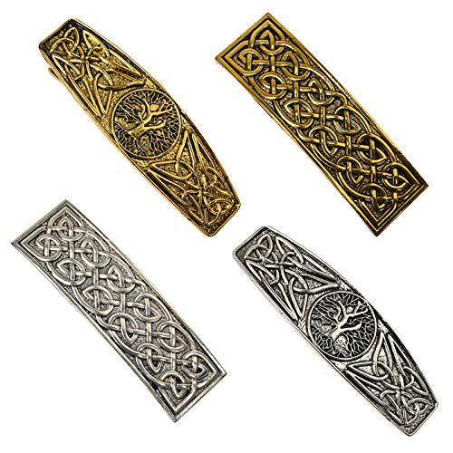 4 PCS Large Celtic Hair Clip Rectangle Barrettes World Tree Hair Clip Hand Crafted Metal Barrettes Vintage Spring Hair Barrettes French Clip for Ladies Women(Gold and Silver)
