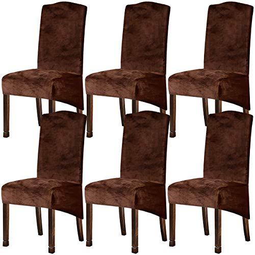 KELUINA XL Fundas para sillas de Terciopelo Felpa para sillas de Comedor, Fundas para sillas elásticas, tronas de Spandex, Fundas Protectoras con elástico para Comedor (Café, 6 Piezas)