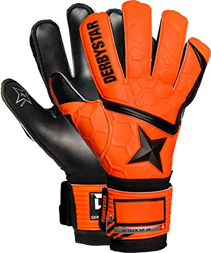 Derbystar Kinder Attack XP16 Torwarthandschuhe, orange schwarz, 6