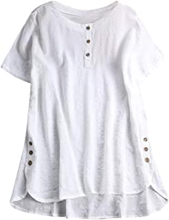 Blouse NJGV Women Fashion Plus Size Short/Long Sleeve Kaftan Baggy Button Cotton Linen Casual Tunic Tops