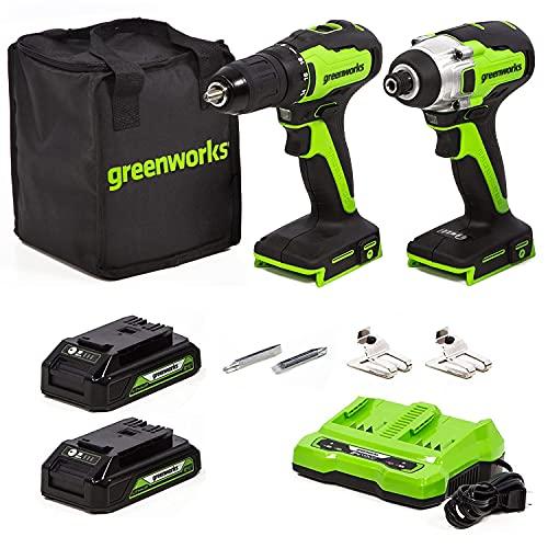 Greenworks Tools Brushless 24V Akku-Bohrschrauber und Schlagschrauber-Set (mit 2 2 Ah Akkus, 1 Ladegerät, 2 Gürtelclips, 1 Werkzeugtasche) für Heimwerker und DYI