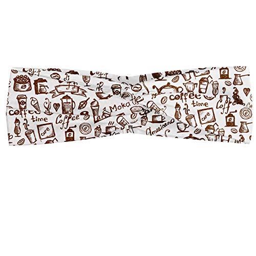 ABAKUHAUS Kaffee Halstuch Bandana Kopftuch, Kühles Getränk Kaffee-Zeit Americano Mokka Espresso-Herz-Banner Kuchen Cups Monochrome, Elastisch und Angenehme alltags accessories, Braun weiß