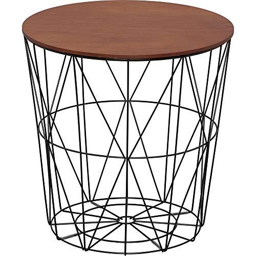 アイリスプラザ ローテーブル スチール ウォルナット 幅40×奥行40×高さ40㎝ WTL-4040