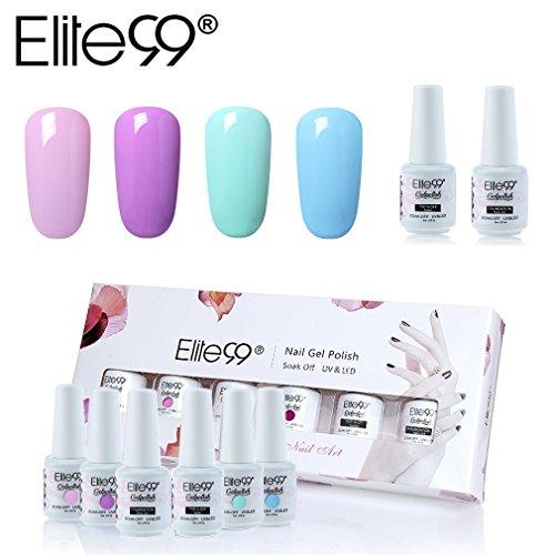 Elite99 Esmalte Semipermanente UV LED 6pcs Kit Uñas de Gel Pintauñas con Base Top Coat Esmalte de Uñas Soakoff Manicura - Gift set 020