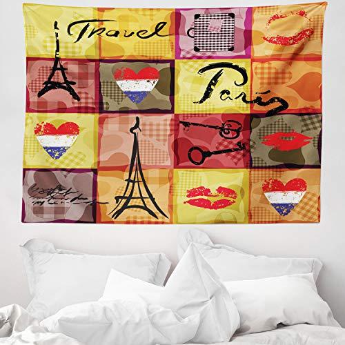 ABAKUHAUS Modern Wandteppich, Collage Print Bunte Herzen Eiffelturm Französische Flagge & Paris Schriftzug, aus Weiches Mikrofaser Stoff Wand Dekoration Für Schlafzimmer, 150 x 110 cm, Mehrfarbig