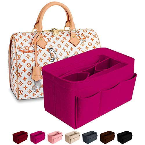 Purse Organizer Insert Felt Bag Organizer Handbag Organizer Insert for Tote fits LV Speedy Neverfull Longchamp (Small, Rose)