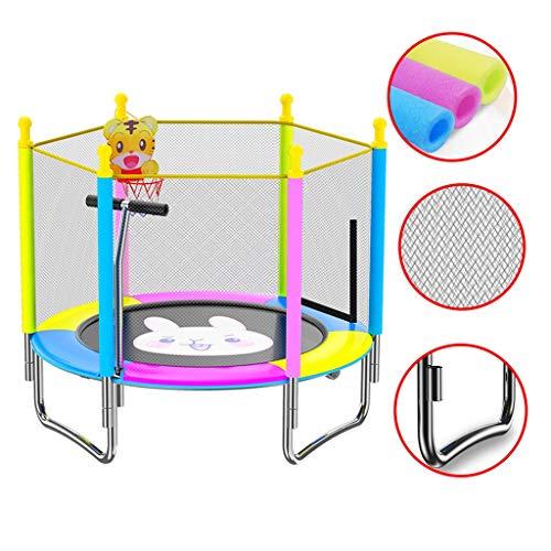 Trampoline Kinder Garten Cartoon Faltbare Netz, Mit Armlehnen, Korb, Geeignet for 1-2 Personen (Color : Yellow, Size : 150cm)