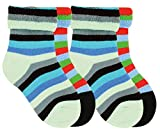 Vitasox Kinder Thermo Socken Frotteesocken bunt 2/4 Paar (31/34, 4xBunte Ringel Blau)