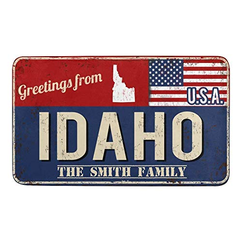 FETEAM Alfombra de baño,Estado de Bandera Estadounidense Idaho Alfombra Absorbente Antideslizante, Alfombra baño Antideslizante, Microfibra esponjosa
