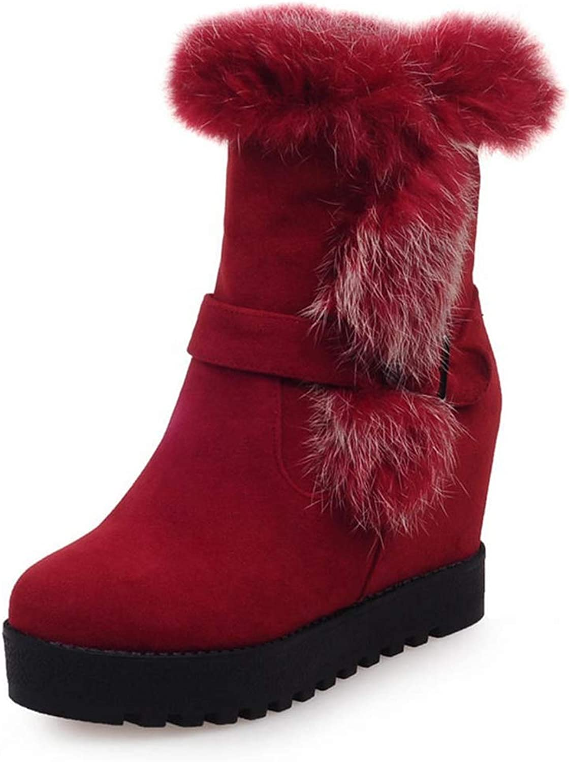 Slip On Warm shoes for Woman Add Fur Mid Calf Boots Winter Outdoor Wedge Heels