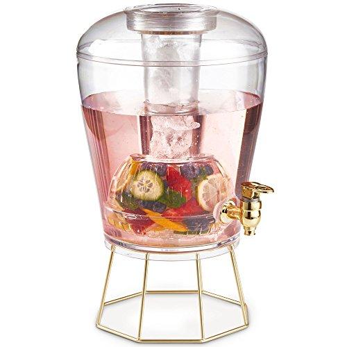 VonShef 7L Getränkespender - Goldhahn, Goldstand, Eiskern, Frucht Infuser und Eiswanne (14 Pints) - BPA-Frei Behälter für Kalte Getränke, Cocktails, Punsch, Wasser, Gekühlte Erfrischungen