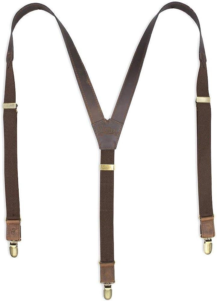 Suspenders Dark Brown Leather Flex Slim 1 inch   Wiseguy Original
