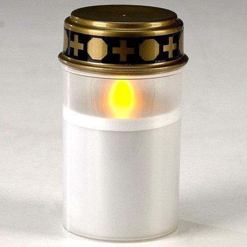 G&M Weisse LED Grabkerze Grablicht Weiss Grabschmuck LED Grablampe
