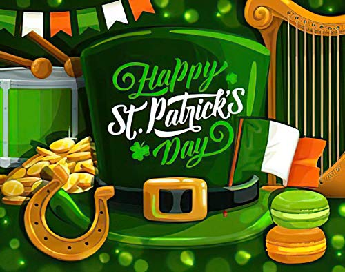 SETUYCR St Patrick's Day 5D DIY Diamond Painting Kits Green Clover Hat Gold Coins Horseshoe Ireland Flag Counting Set for Adults Full Drill Rhinestone Craft Arts Home Wall Decoration 12' X 16'
