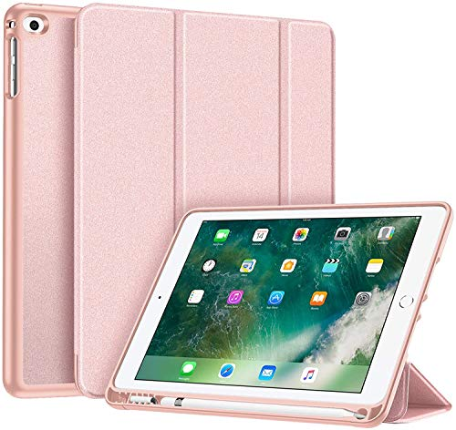 Fintie SlimShell Hülle für iPad 9.7 2018 - Superleicht Soft TPU Rückseite Abdeckung Schutzhülle mit eingebautem Apple Pencil Halter, Auto Schlaf/Wach für iPad 6. Generation, Roségold