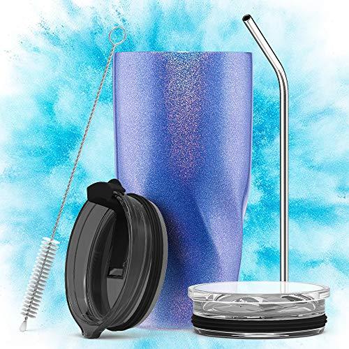 Avoalre Kaffeebecher to go Trinkbecher | Doppelwandig Vakuum Isolierter Autobecher mit Strohhalm 2 X Deckel Tumbler Coffee to go Becher-Blau