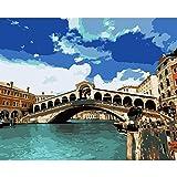 JRGGPO Venecia Ciudad Kit de Pintura con Diamantes 5D Niños Adulto Regalo Mosaico de Diamantes Punto de Cruz para el hogar decoración(40x50cm Diamante Cuadrado)