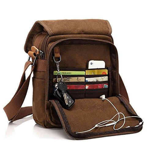 CHEREEKI Umhängetasche, Messenger Bag Unisex Vintage Canvas Schultertasche Messenger Tasche für die Arbeit, Schule (Khaki)