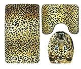 AZZXZONa Juego De Alfombrillas De Baño 3 Piezas Transpirables Antideslizantes, Alfombrilla De Baño + Pedestal + Alfombrilla para Inodoro De Tres Piezas De Franela con Estampado De Leopardo Amarillo