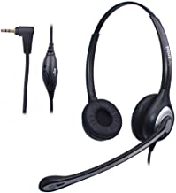 Wantek 2.5mm Jack Telephone Headset Binaural with Noise Canceling Mic, Office Cordless Phone Headsets for Panasonic KX-DT333 KX-DT346 KX-DT543 KX-T7630 KX-T7730 KX-T7731 KX-TGEA20 KX-NT553(602J25D1)