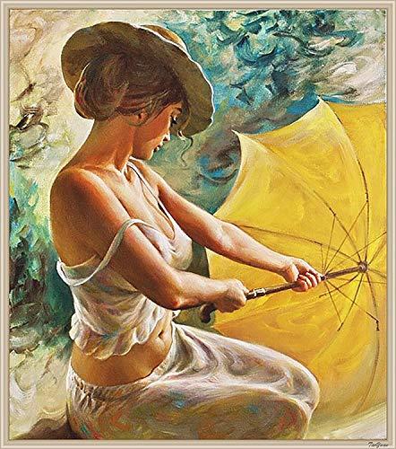 YONII DIY Ölfarbe von Number Kit, Bunte Leinwand Malerei Paintworks Frau mit Regenschirm Wandkunst Bild Zeichnung mit Pinsel 16 * 20 Zoll Dekor Dekorationen Geschenke
