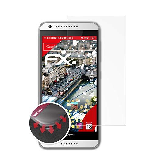 atFolix Schutzfolie kompatibel mit HTC Desire 620 Folie, entspiegelnde & Flexible FX Bildschirmschutzfolie (3X)
