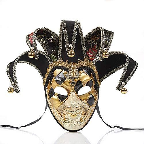 Máscara Veneciana de bufón de Cara Completa, máscara de Vestido de Halloween, Mascarada, Fiesta de Carnaval, Disfraz de Bola, máscara de Ojos, máscara de Payaso para Hombres, Negro