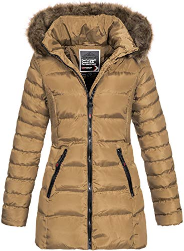 Geographical Norway Damen Steppmantel Winterparka Anies Kapuze Taupe M