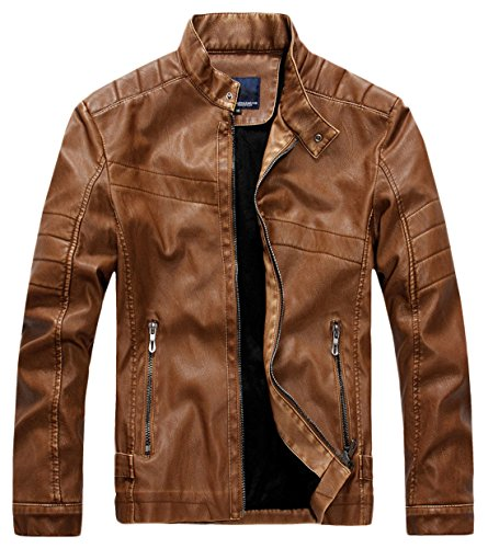 chouyatou Men's Vintage Stand Collar Pu Leather Jacket (Large, WZQM111-Brown)
