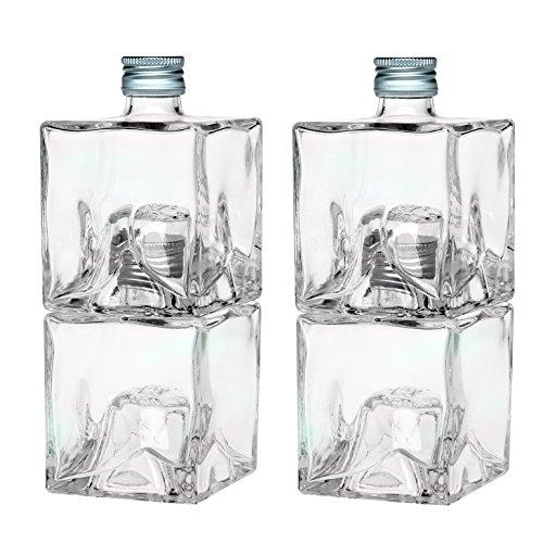 slkfactory 4 Leere Glasflaschen 250ml Mystic Flasche Likörflaschen Schnapsflaschen Stapelflaschen zum selbst Abfüllen Essig/Öl Set Spender 0,25 Liter l