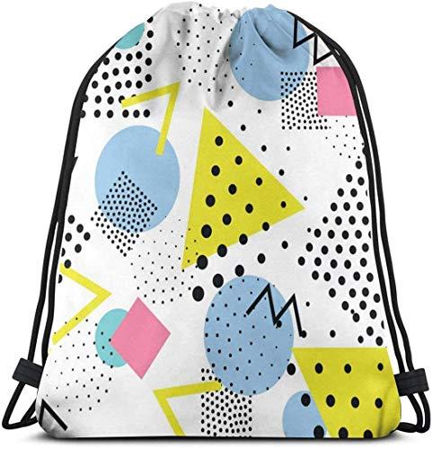 Kordelzug-Tasche im Vintage-Stil, 80er-/90er-Jahre-Stil, wasserdicht, tragbar, langlebig, Turnbeutel aus weichem Polyester, für Kinder, Arbeiter, Camper, Sportler