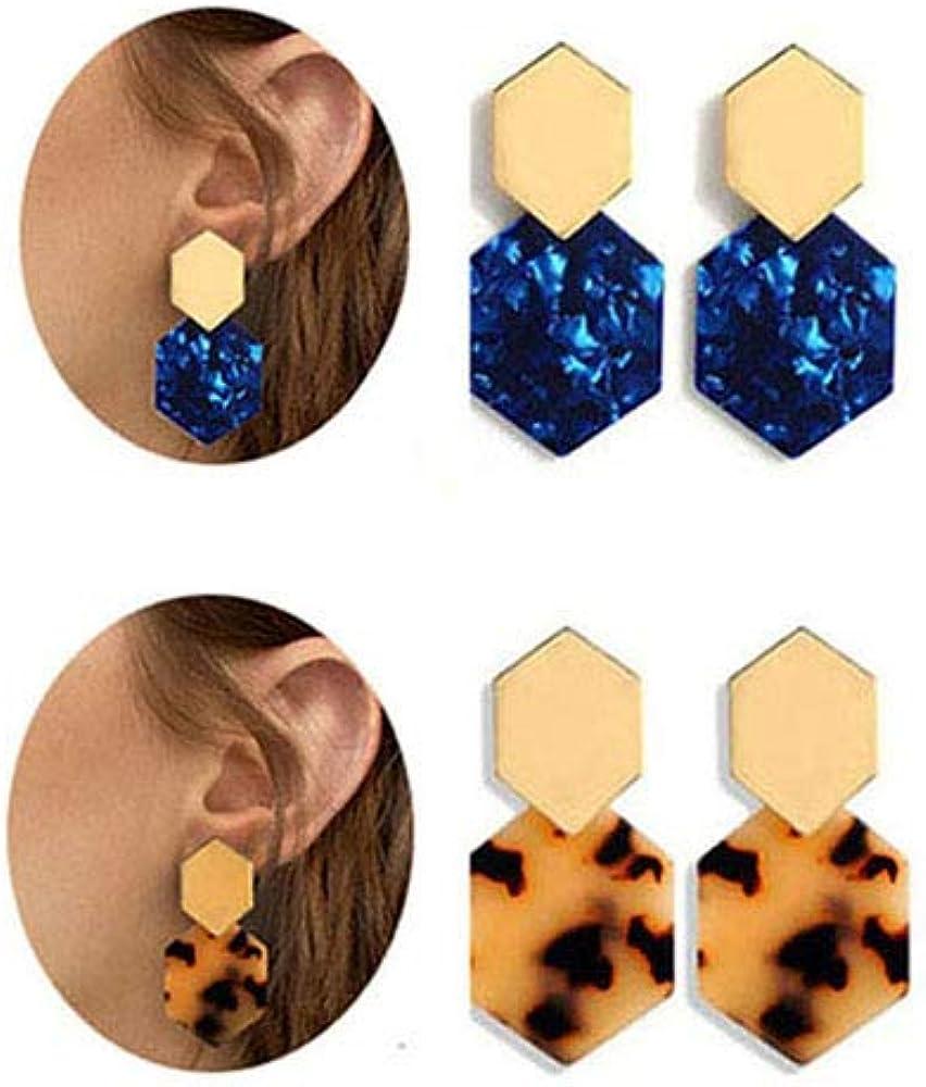 ASHIMITA Acrylic Gold Max 56% OFF Alloy Earrings Geometric E -Tortoise Sale Special Price Shell