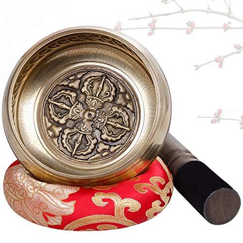 Rovtop Tibetische Klangschale Große 12cm - 413g, Klangschalen Set Beinhaltet Deko Kissen, Klöppel für...