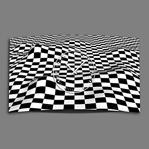 Dixtime 3DS-0154 Horloge murale design moderne à carreaux Noir/blanc